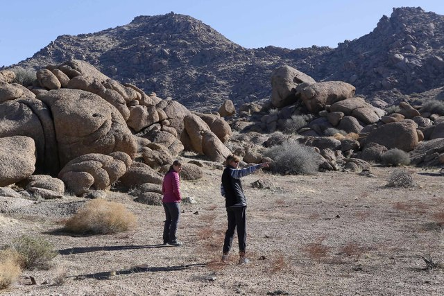 Jaina Moan, director of the Friends of Gold Butte, from left, and Kathryn Mcquade, 60, at Gold Butte National Monument on Tuesday, Jan. 17, 2017, in Gold Butte, Nevada. Friends of Gold Butte fough ...