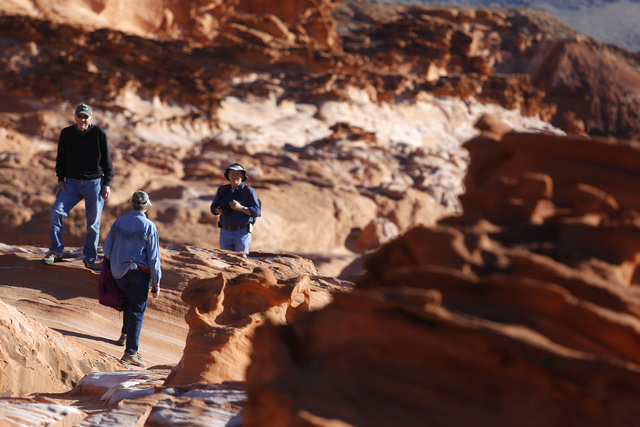 Visitors hike at Gold Butte National Monument on Tuesday, Jan. 17, 2017, in Gold Butte, Nevada.  (Christian K. Lee/Las Vegas Review-Journal) @chrisklee_jpeg