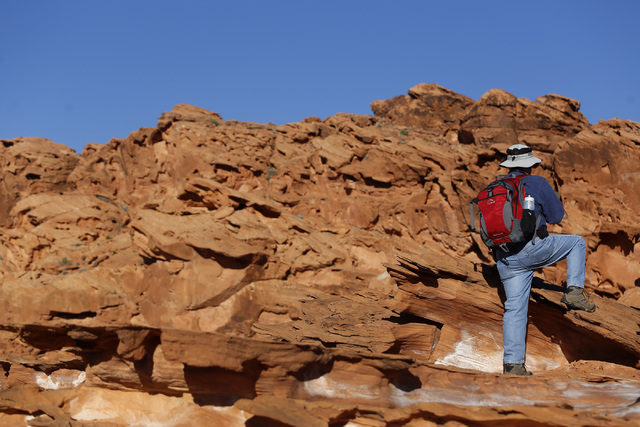 A visitor hike at Gold Butte National Monument on Tuesday, Jan. 17, 2017, in Gold Butte, Nevada.  (Christian K. Lee/Las Vegas Review-Journal) @chrisklee_jpeg