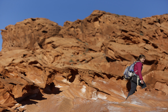 Jaina Moan, director of the Friends of Gold Butte, at Gold Butte National Monument on Tuesday, Jan. 17, 2017, in Gold Butte, Nevada. Friends of Gold Butte fought for the monument's protection. (Ch ...