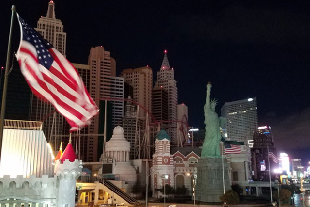 The power was out for about an hour at New York-New York early Wednesday morning, Jan. 11, 2016. Power was slowly coming back by 6:20 a.m. (Mike Shoro/Las Vegas Review-Journal)