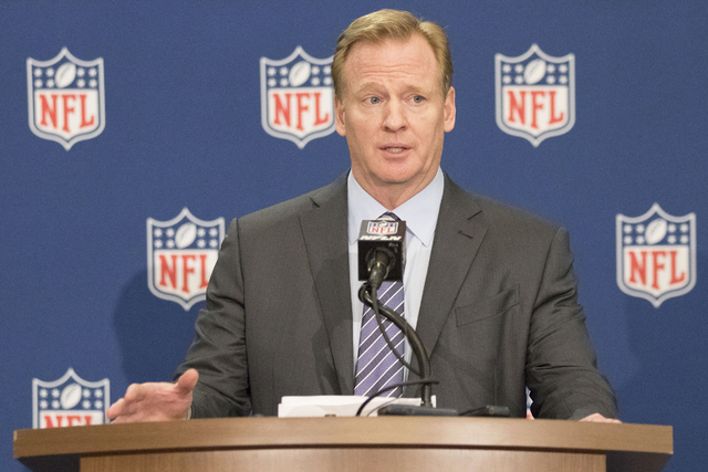At a news conference in Irving, Texas, NFL commissioner Roger Goodell answers questions from reporters on Dec. 14, 2016.  (Heidi Fang/Las Vegas Review-Journal) @HeidiFang