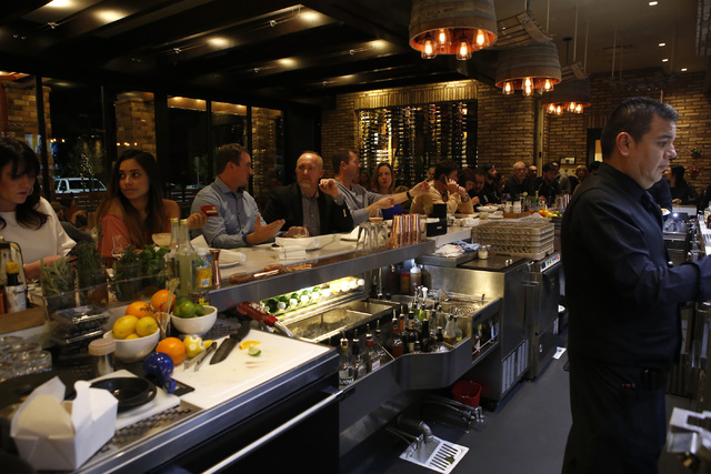 Guests eat and drink at the bar area of Nora's Italian Cuisine on Friday, Jan. 6, 2017, in Las Vegas. (Christian K. Lee/Las Vegas Review-Journal) @chrisklee_jpeg
