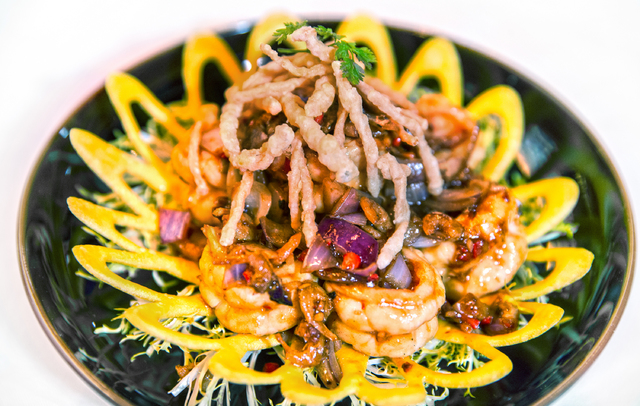 Wok-fry tiger prawn with lemongrass and chili at Hakkasan Restaurant on Monday, Jan. 16, 2017, in Las Vegas. Benjamin Hager/Las Vegas Review-Journal