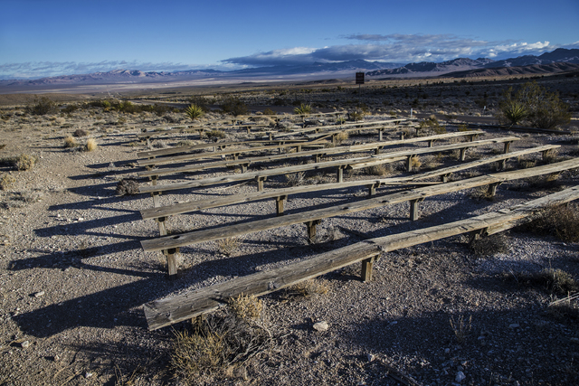 Wooden observation benches once used to view nuclear detonation tests overlooking Frenchman Flat on Wednesday, Jan., 11, 2017, at the Nevada National Security Site, in Mercury, Nevada. (Benjamin H ...