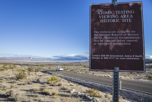 Atomic testing viewing area historic site overlooking Frenchman Flat on Wednesday, Jan., 11, 2017, at the Nevada National Security Site, in Mercury, Nevada. (Benjamin Hager/Las Vegas Review-Journal)