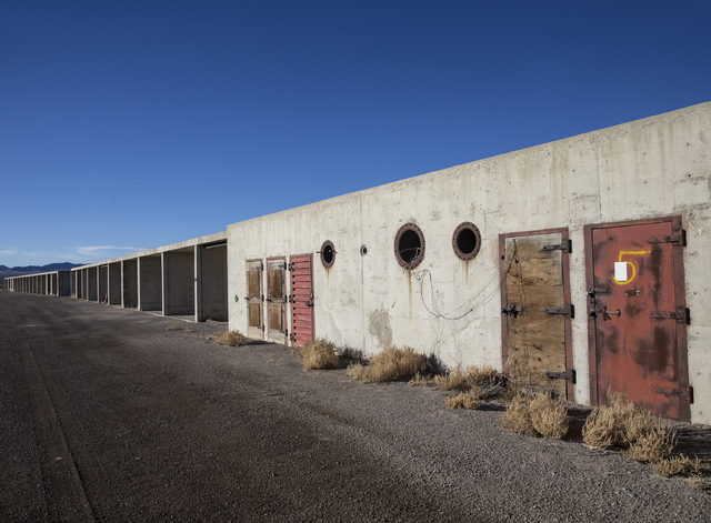 Structures built to measure the effects from the 1957 nuclear detonation test Priscilla at Frenchman Flat. Photo taken on Wednesday, Jan., 11, 2017, at the Nevada National Security Site, in Mercur ...
