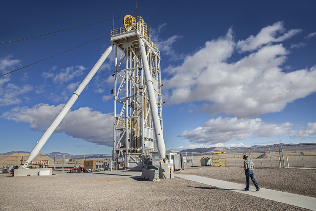 A worker walks to the elevator shaft at the U1a Complex  on Wednesday, Jan., 11, 2017, at the Nevada National Security Site, in Mercury, Nevada. (Benjamin Hager/Las Vegas Review-Journal)