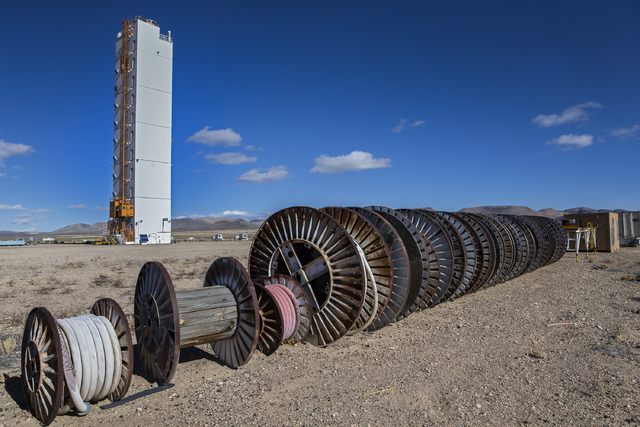 The tower for lowering the diagnostics canister for the Icecap nuclear test stands behind cable reels, Jan. 11, 2017, on Yucca Flat at the Nevada National Security Site. The joint U.S.-United King ...