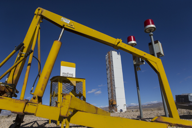 The diagnostics canister tower with cable reels at Icecap Ground Zero on Wednesday, Jan., 11, 2017, at the Nevada National Security Site, in Mercury, Nevada. (Benjamin Hager/Las Vegas Review-Journal)
