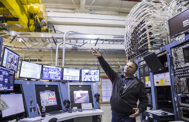 JASPER complex manager George Salyer, with National Securities Technologies, discusses features of the control room on Wednesday, Jan., 11, 2017, at the Nevada National Security Site, in Mercury,  ...