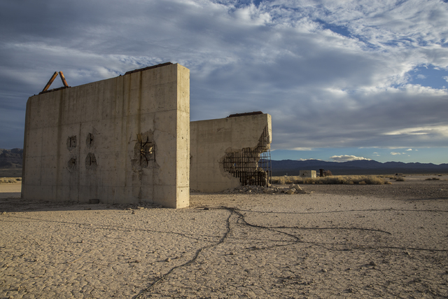 The remains of a bridge built to measure the effects from the 1957 nuclear detonation test Priscilla at Frenchman Flat. Photo taken on Wednesday, Jan., 11, 2017, at the Nevada National Security Si ...