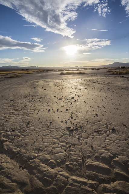 The cracked ground at Frenchman Flat on Wednesday, Jan., 11, 2017, at the Nevada National Security Site, in Mercury, Nevada. (Benjamin Hager/Las Vegas Review-Journal)