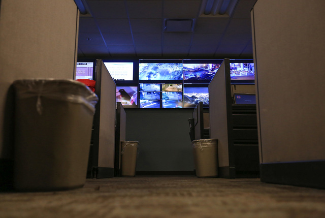 Cameras covering the Strip line a wall in the Fusion Center at the Metropolitan Police Department headquarters on Saturday, Dec. 31, 2016. (Brett Le Blanc/Las Vegas Review-Journal) @bleblancphoto