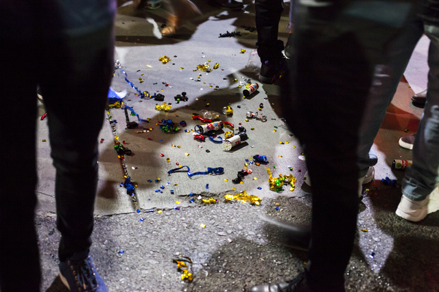 The aftermath of New Year's Eve celebrations in front of the Monte Carlo the Las Vegas Strip on Sunday, Jan. 1, 2017. (Miranda Alam/Las Vegas Review-Journal) miranda.alam