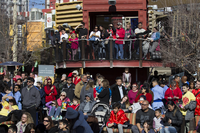 People watch a performance during the Chinese New Year in the Desert event at the Container Park on Saturday, Jan. 28, 2017, in Las Vegas. Erik Verduzco/Las Vegas Review-Journal Follow @Erik_Verduzco