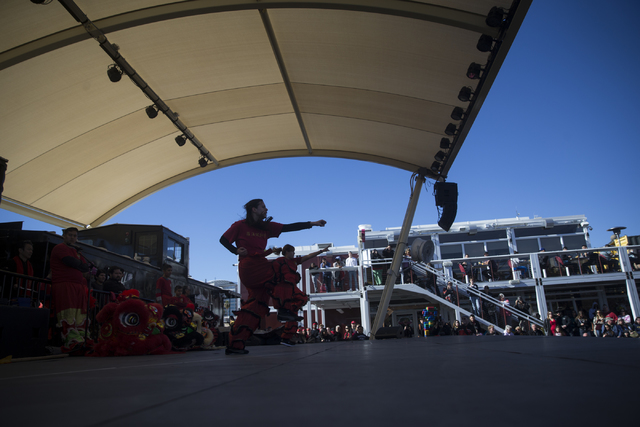 Performers with the Lohan School of Shaolin, Calexico Martial Arts Academy, perform during the Chinese New Year in the Desert event at the Container Park on Saturday, Jan. 28, 2017, in Las Vegas.  ...