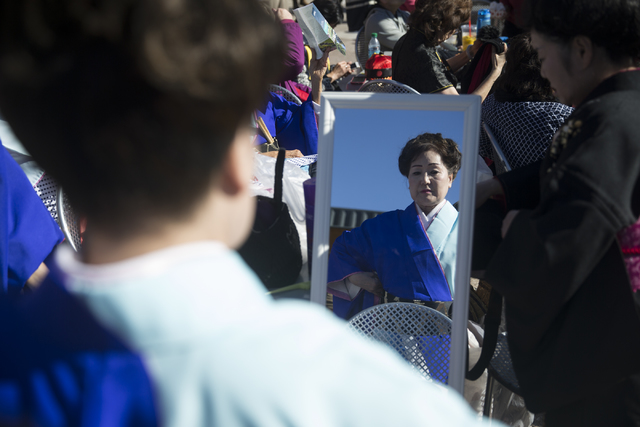 Tendo Baikoki Japanese dance instructor Fumiko Duncan gets ready to perform during the Chinese New Year in the Desert event at the Container Park on Saturday, Jan. 28, 2017, in Las Vegas. Erik Ver ...