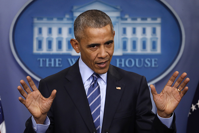 FILE - In this Dec. 16, 2016, file photo, President Barack Obama speaks during a news conference in the briefing room of the White House in Washington. Obama is entering the closing stretch of his ...