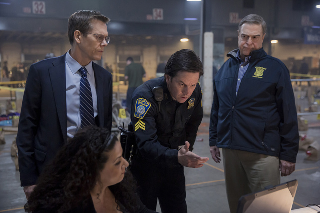 Photo credit: Karen Ballard (Standing, left to right) Kevin Bacon, Mark Wahlberg and John Goodman in PATRIOTS DAY to be released by CBS Films and Lionsgate.