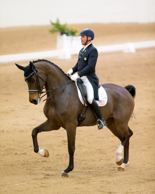 U.S. Olympic bronze medalist Steffen Peters and Rosamunde won the inaugural High Roller Grand Prix Freestyle at South Point Arena and Equestrian Center with an average score of 78.425. (Terri Miller)