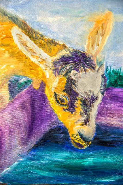 Artist Jim Champlin painted a Norwegian goat during the pet portrait class. Though he doesn't own a goat himself, he drew inspiration from a book. (Benjamin Hager/Las Vegas Review-Journal)