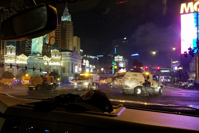 The Clark County Department of Public Works cleans up on the Las Vegas Strip after the New Year's celebration, Sunday, Jan. 1, 2017. (Mike Shoro/Las Vegas Review-Journal)