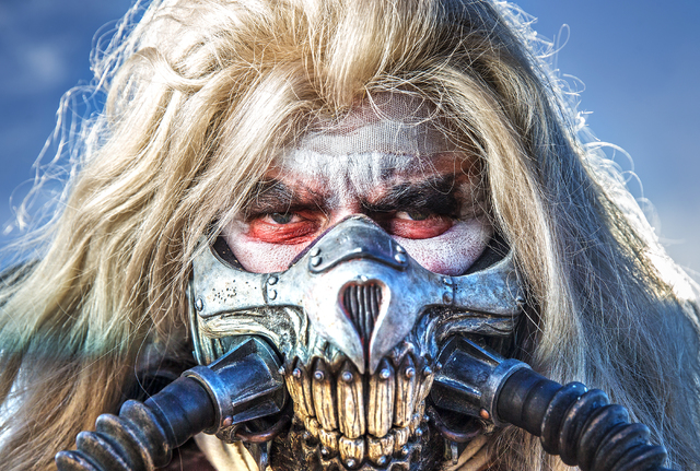Immortan Joe poses for a photo during the seventh annual Wasteland Weekend on Saturday, Sept. 24, 2016, in California City, Calif. The four day, post-apocalyptic festival takes place in the Mojave ...