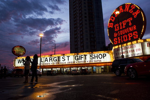 The sun sets behind Bonanza Gift Shop in Las Vegas, on Monday, Oct. 24, 2016. The gift shop's operator, Haim Gabay, bought the 2-acre property at the northwest corner of Las Vegas Boulevard ...
