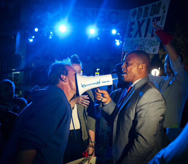 A confrontation breaks out after the third presidential debate in front of the Student Union Ballroom at UNLV in Las Vegas, on Wednesday, Oct. 19, 2016. (Miranda Alam/Las Vegas Review-Journal) @mi ...