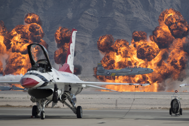 A Lockheed T-33 Ace Maker II performs during the Aviation Nation air show at Nellis Air Force Base on Saturday, Nov. 12, 2016, in Las Vegas. Erik Verduzco/Las Vegas Review-Journal Follow @Erik_Ver ...