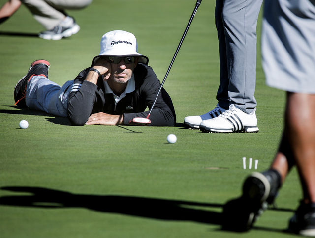 Golf coach Ralph Bauer watches Nick Taylor's putting alignment at TPC Summerlin on Wednesday, Nov. 2, 2016. The Shriners Hospitals for Children Open begins Thursday. Jeff Scheid/Las Vegas Review-J ...
