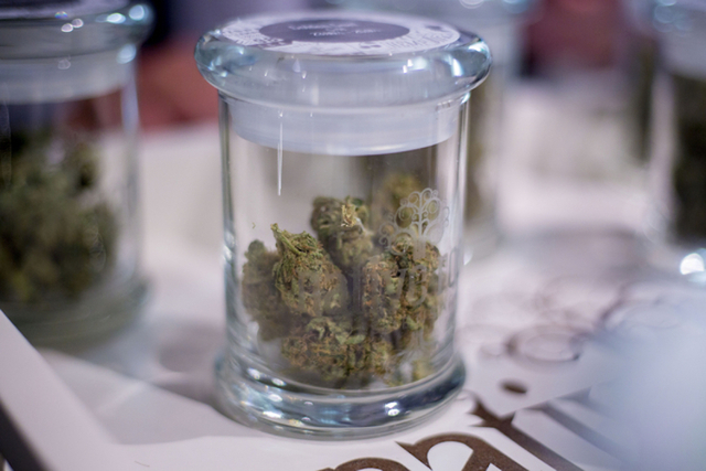Marijuana bud options for sale at Native Roots Dispensary in Denver, Wednesday, Aug. 31, 2016. (Elizabeth Page Brumley/Las Vegas Review-Journal Follow @elipagephoto)