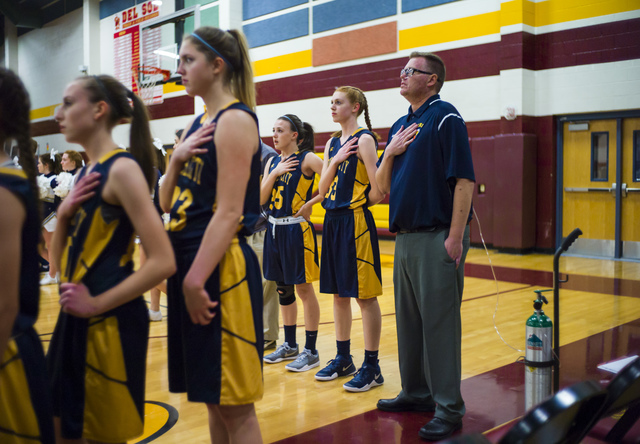 Boulder City girls basketball coach Paul Dosch before the start of a basketball game at Del Sol High School in Las Vegas on Tuesday, Jan. 10, 2017. Dosch, 44, who has been coaching the team for 4  ...