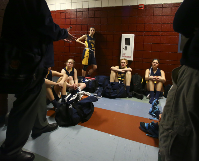 Boulder City girls basketball coach Paul Dosch talks to his players after they defeated Del Sol 45-16 in Las Vegas on Tuesday, Jan. 10, 2017. Dosch, 44, who has been coaching the team for 4 years, ...