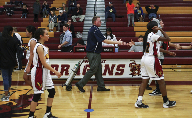 Boulder City girls basketball coach Paul Dosch after defeating Del Sol High School 45-16 in Las Vegas on Tuesday, Jan. 10, 2017. Dosch, 44, who has been coaching the team for 4 years, is currently ...