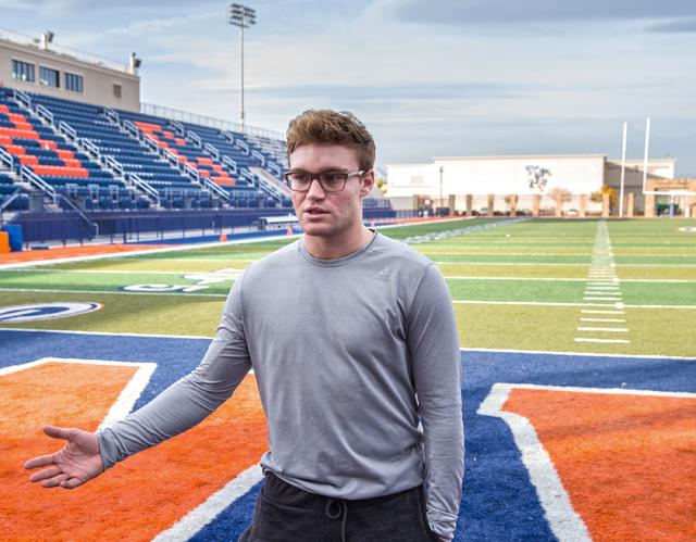 Gaels senior quarterback Tate Martell discusses being recently named Gatorade National Player of the Year on Wednesday, Dec. 14, 2016, at Bishop Gorman High in Las Vegas. (Benjamin Hager/Las Vegas ...