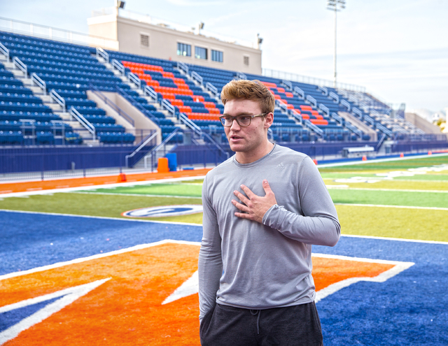 Gaels senior quarterback Tate Martell discusses being recently named Gatorade National Player of the Year on Wednesday, Dec. 14, 2016, at Bishop Gorman High School, in Las Vegas. (Benjamin Hager/L ...