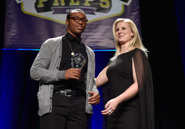 In this Saturday, June 4, 2016 file photo, Chaparral High School's Richard Nelson, left, receives his courage award during the Best of Nevada Preps awards banquet at the Red Rock hotel-casino in L ...