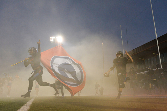 Bishop Gorman runs onto the field before their game against Kahuku High School game at Bishop Gorman in Summerlin on Saturday, Sept. 17, 2016. (Brett Le Blanc/Las Vegas Review-Journal) Follow @ble ...