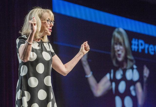 Kristin McMillan, president and CEO of Las Vegas Metro Chamber of Commerce speaks during Preview Las Vegas at Cox Pavilion in Las Vegas, Tuesday, Jan. 24, 2017. (Jeff Scheid/Las Vegas Review-Journ ...