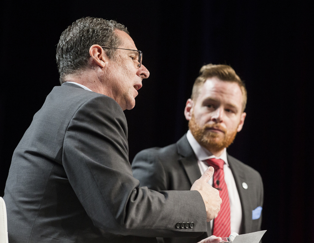 Dr. Rob Lang, left, executive director, Brookings Mountain West and Dr. John Hudak, senior fellow in governance studies and deputy director of the Center for Effective Public Management, Brookings ...