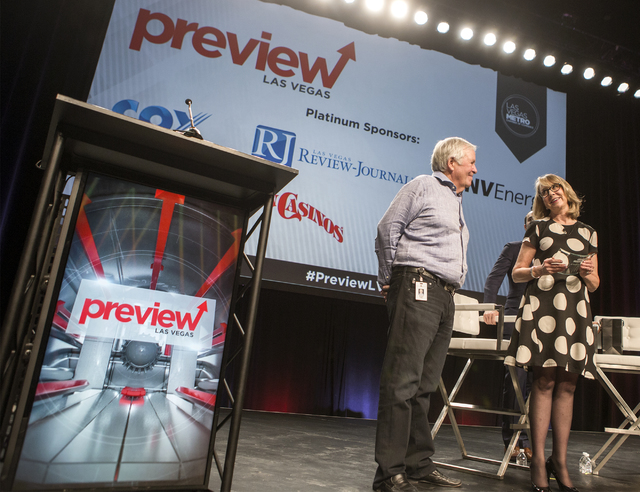 Kristin McMillan, right, president & CEO of Las Vegas Metro Chamber of Commerce, right, introduces Bill Foley, owner of the Vegas Golden Knights NHL team, during Preview Las Vegas at Cox Pavil ...