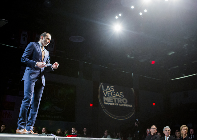 Nehme E. Abouzeid, senior vice president and chief marketing officer for the Vegas Golden Knight NHL team, speaks during Preview Las Vegas at Cox Pavilion in Las Vegas on Tuesday, Jan. 24, 2017. ( ...