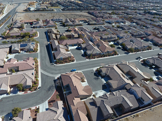 Aerial view of housing developments in northwest Las Vegas near Grand Teton Drive and Tee Pee Lane on Wednesday, January 26, 2017. (Michael Quine/Las Vegas Review-Journal) @Vegas88s