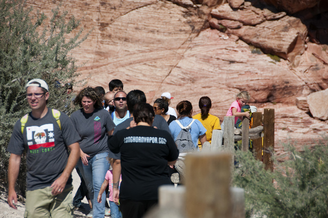 Visitors enjoy the Red Rock Conservation Area free of charge in honor of 23rd annual Public Lands on Saturday, Sept. 24, 2016, in Las Vegas. Christian Bertolaccini/Las Vegas Review-Journal