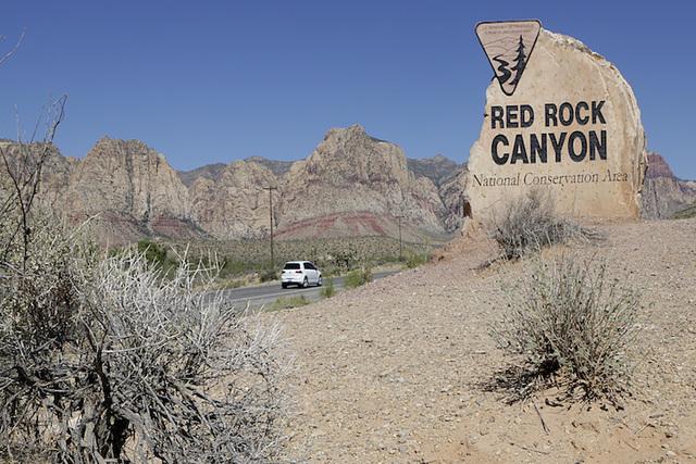 The sign for Red Rock Canyon on Wednesday, July 13, 2016. Bizuayehu Tesfaye/Las Vegas Review-Journal Follow @bizutesfaye