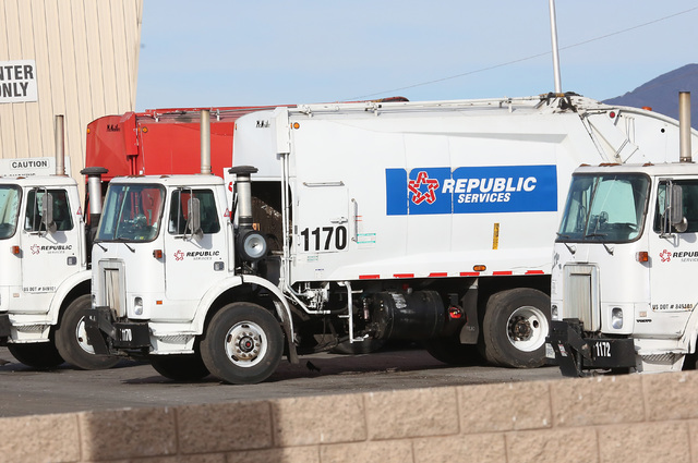 Republic trucks are lined up at Republic Services' disposal facility Wednesday, Dec. 7, 2016, in North Las Vegas. (Bizuayehu Tesfaye/Las Vegas Review-Journal) @bizutesfaye