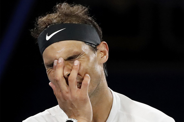 Rafael Nadal defeated Grigor Dimitrov in five long sets at the Australian Open tennis championships in Melbourne, Australia, Friday, Jan. 27, 2017. He will face Roger Federer for the championship  ...