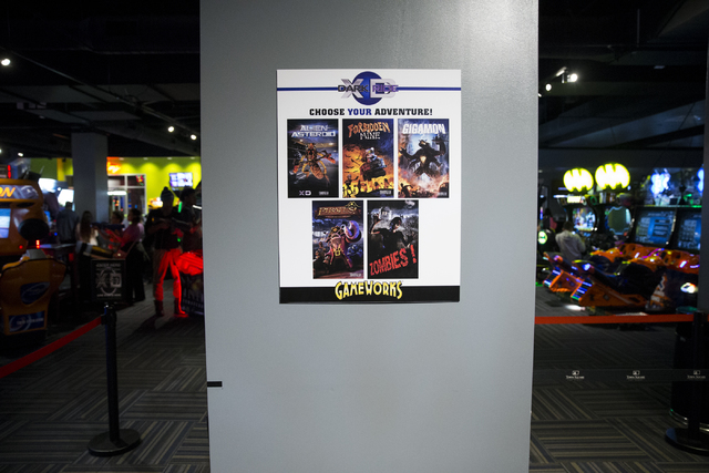 A signs show the game options for the XD Dark Ride at GameWorks in Town Square on Friday, Dec. 30, 2016, in Las Vegas. Erik Verduzco/Las Vegas Review-Journal Follow @Erik_Verduzco